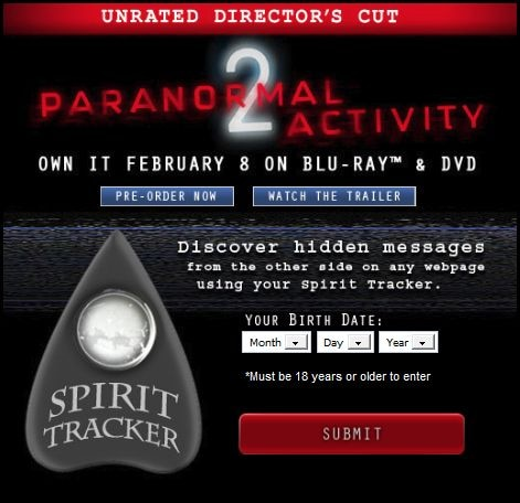 Paranormal Activity 2 - Track Spirits on Facebook