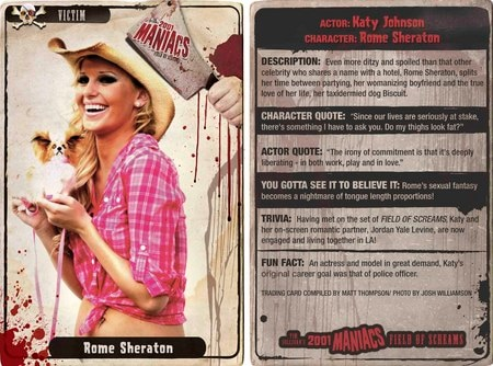 Collect All Ten 2001 Maniacs: Field of Screams Victims Trading Cards