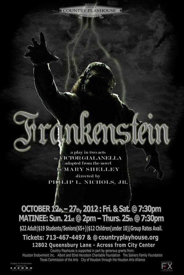 Promo Video, New Poster, and Image Gallery for Phil Nichols' Frankenstein Stage Play