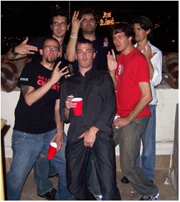 again from L to R: Me, Ryan Rotten, Joe Lynch, Ryan Schiffrin (looking very confused), Travis Betz, and someone holding his crotch whose name I never caught