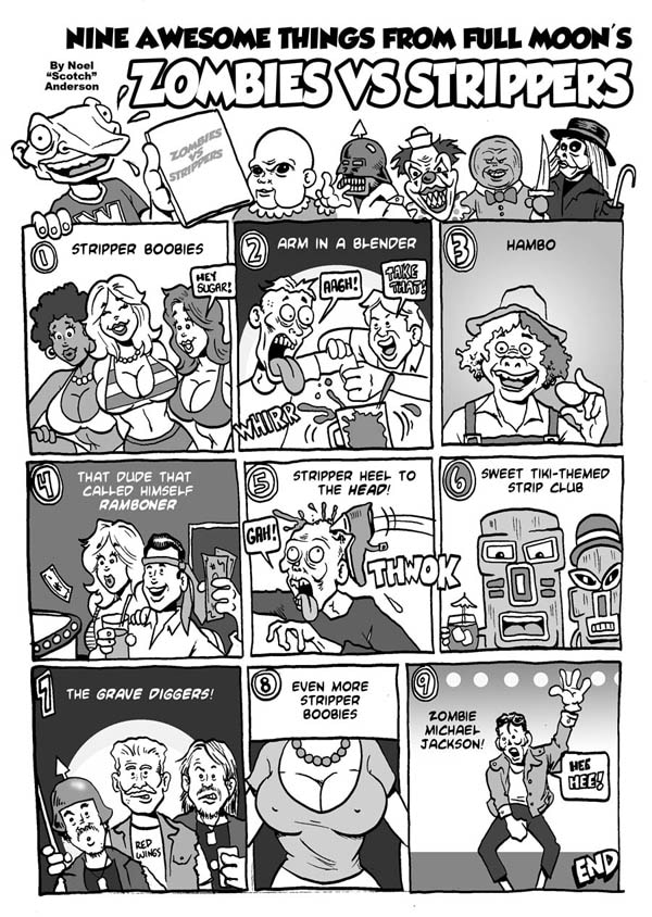 A Comic Approach to Full Moon's Zombies vs. Strippers (click for larger image)