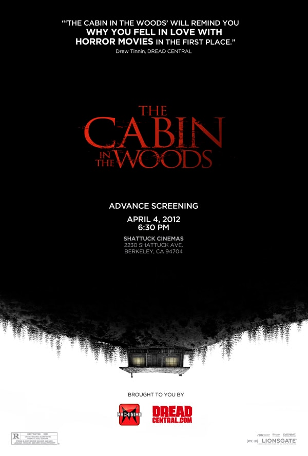 Dread Central and Machinima Hosting an Early Screening of The Cabin in the Woods in Berkeley, California