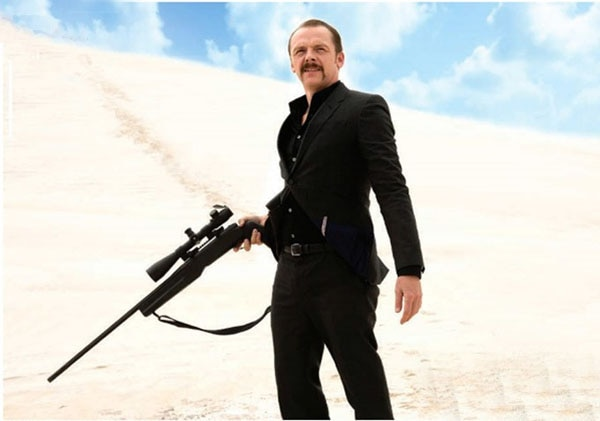 AFM 2013: Simon Pegg Wields a Gun and Mustache in First Look at Kill Me Three Times