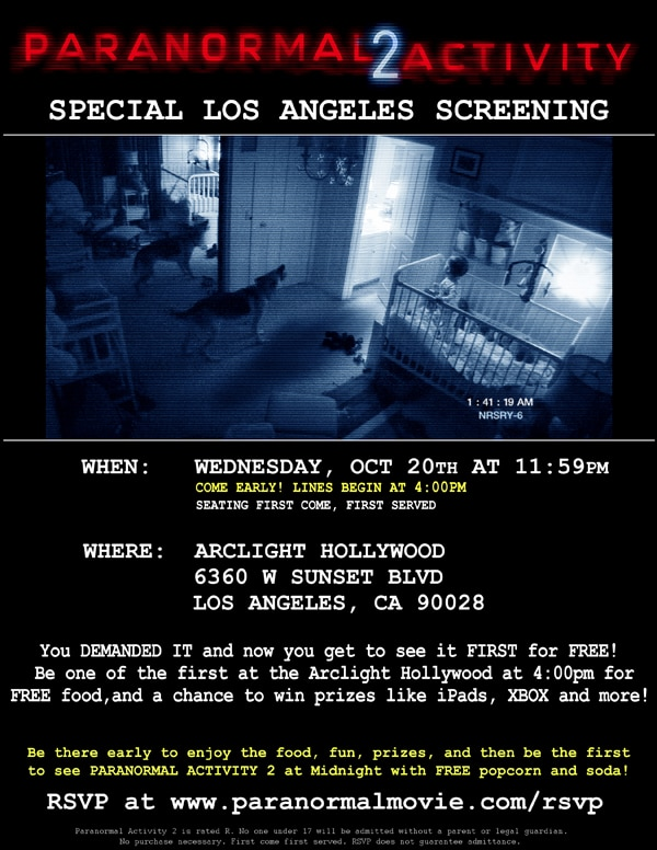 Dread Central Streaming Entire Paranormal Activity 2 LA Line-Up Event