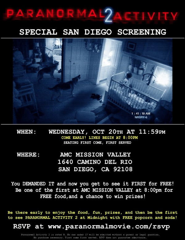 Dread Central Presents Paranormal Activity 2 This Wednesday at Midnight in San Diego