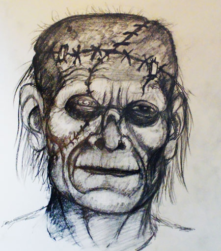 Pre-Production Concept Art for Phil Nichols' Stage Production of Frankenstein