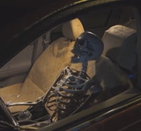 Spooky Driving Skeleton Scares Up Some Laughs