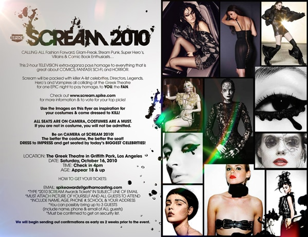 Get Free Tickets to Spike TV's Scream Awards 2010 (click for larger image)