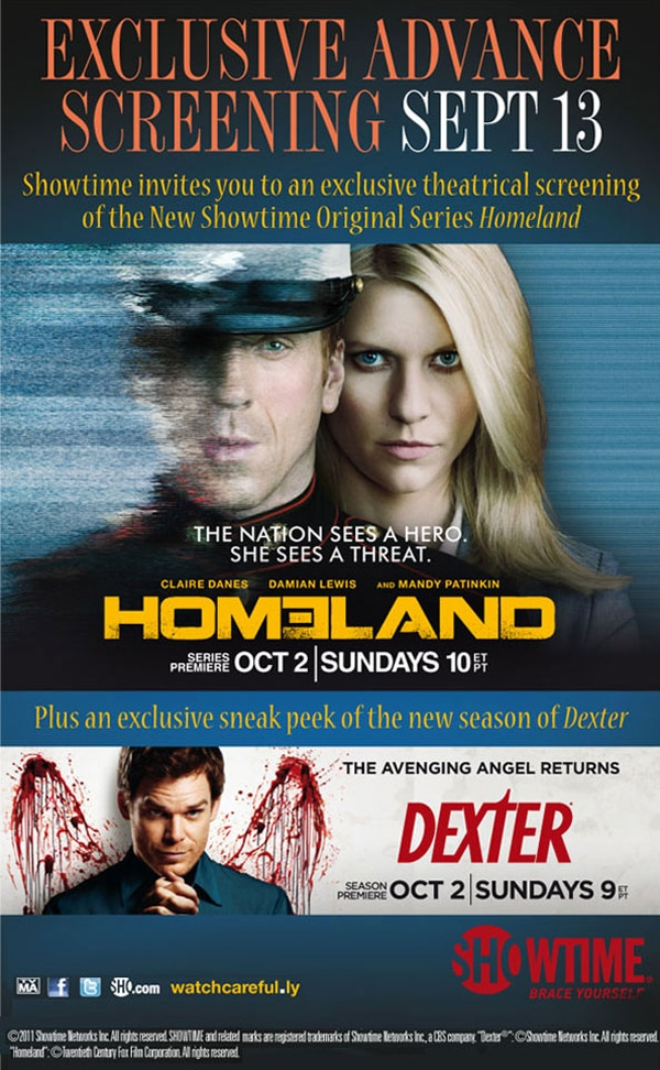 Attend a Free Screening of Showtime's Homeland and Catch a Sneak Peek of Dexter