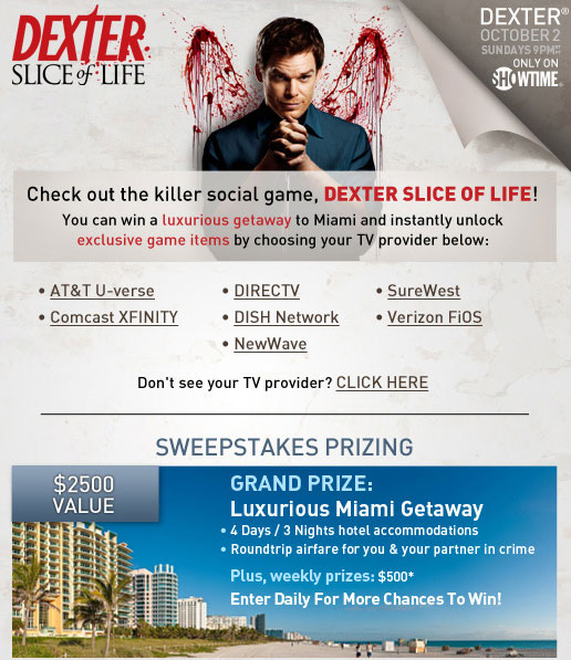 Play Dexter's Social Game Slice of Life and Win a Miami Getaway