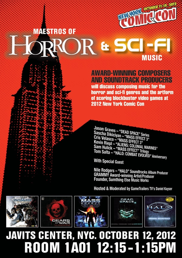 New York Comic Con 2012: Info on the Maestros of Horror and Sci-Fi Music Panel