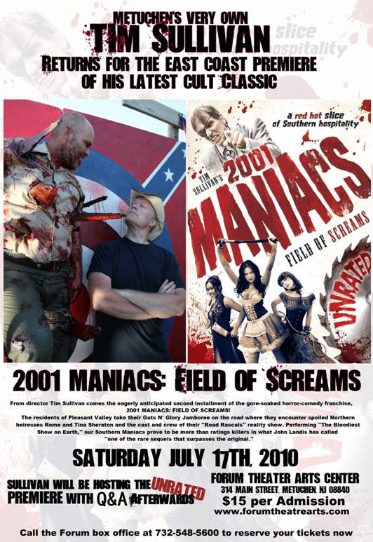 First Look, Dread Central, & Metuchen, New Jersey's Forum Theatre to Host East Coast Premiere of 2001 Maniacs: Field of Screams
