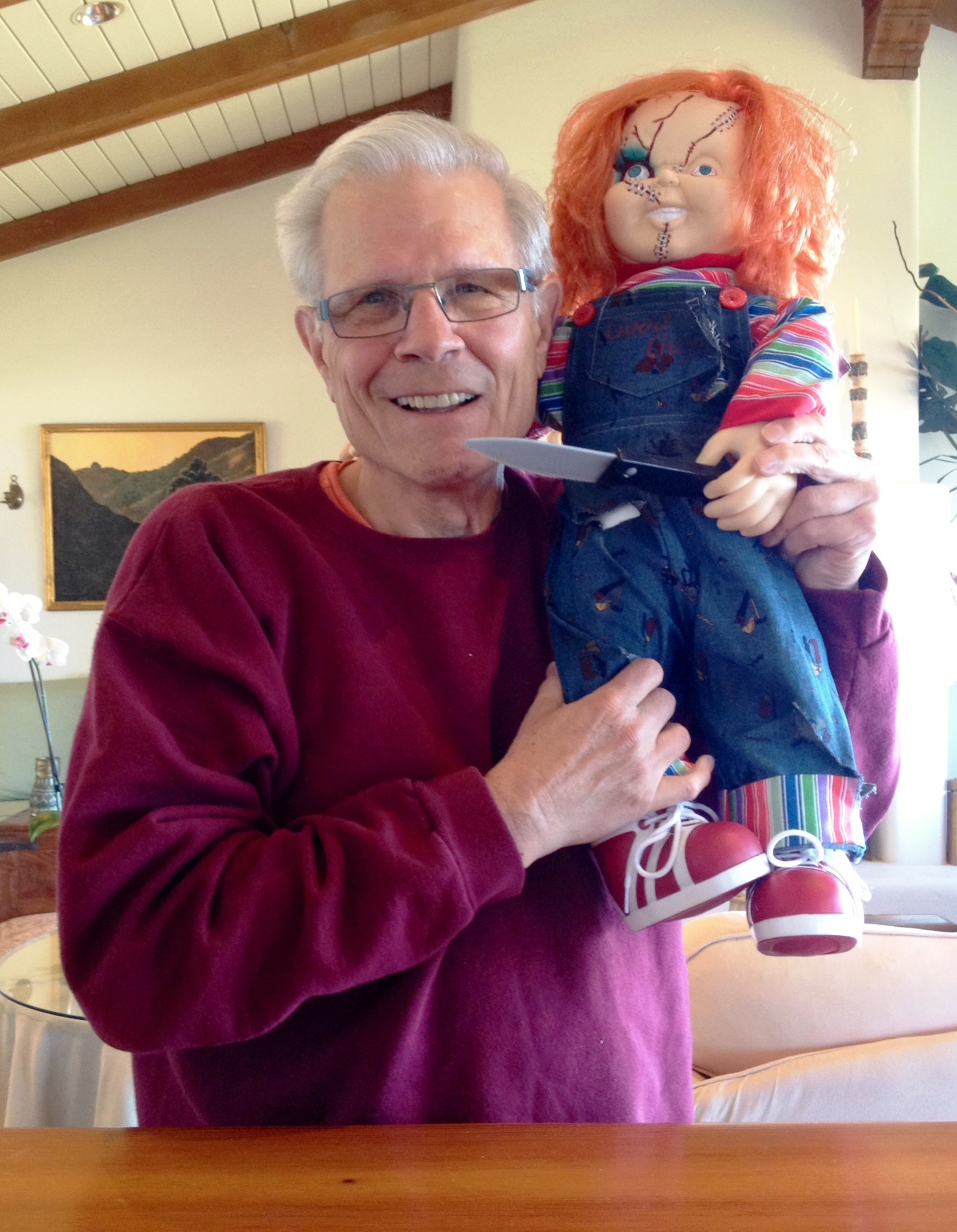 tom with chucky - Tom Holland and Tim Sullivan Team with Dread Central for Chucky Doll Giveaway