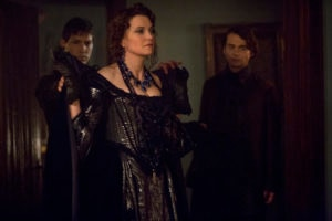 L R Lucy Lawless as Countess Marburg and Joe Doyle as Sebastian 300x200 - Increase Returns in these Images and Preview of Joe Dante-Directed Salem Episode 2.07