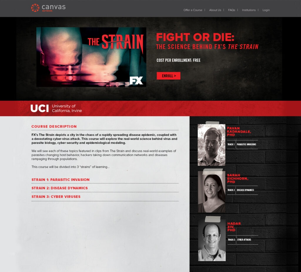 The Strain  MOOC registration page 1024x924 - FX, Instructure, and UC Irvine Launch Online Course Inspired by The Strain