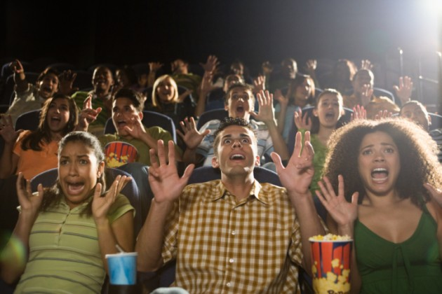 scared movie crowd - Horror Movies: Why Some of Us Love Them and Some of Us Don't