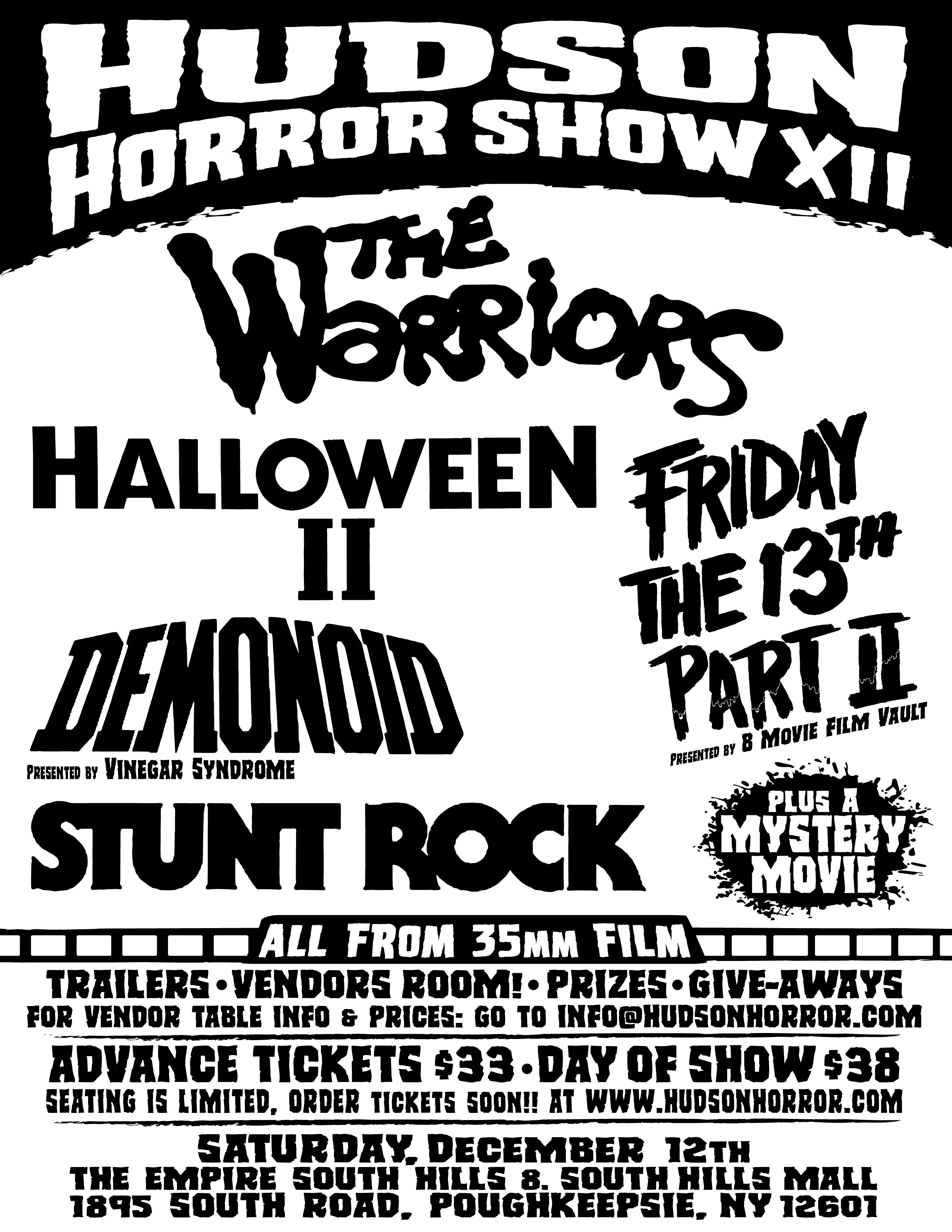 HHS XII flyer rev 01 - Lineup for Hudson Horror Show XII Announced; Tickets Going Fast