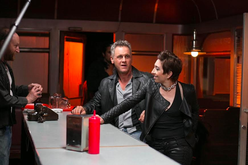 Left to right David Ury Mark Moses and Naomi Grossman on the set of FEAR INC - Fear, Inc. - Exclusive Set Visit Interview with Writer-Producer Luke Barnett