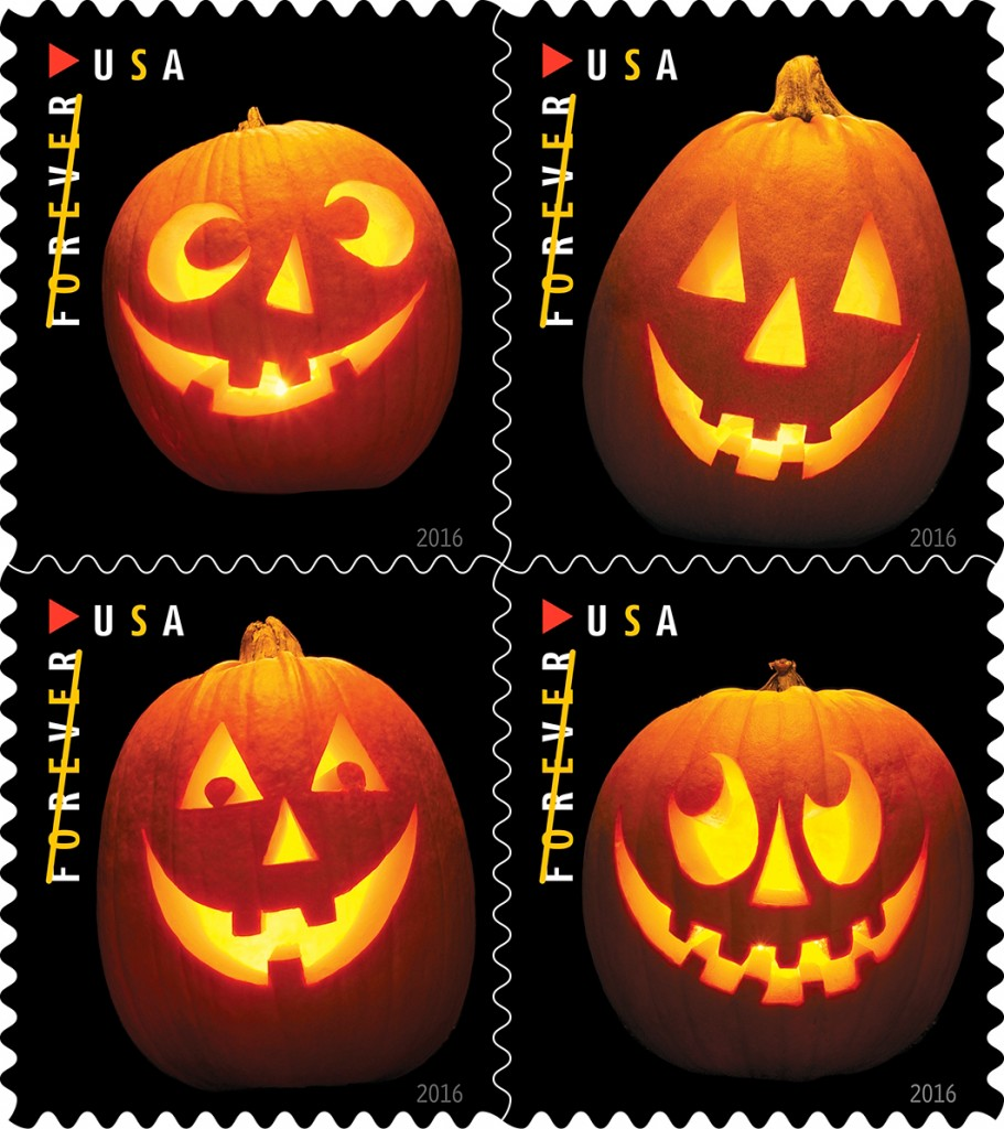 halloweenstamps 911x1024 - U.S. Postal Service Unveils New Halloween-Themed Stamps for 2016