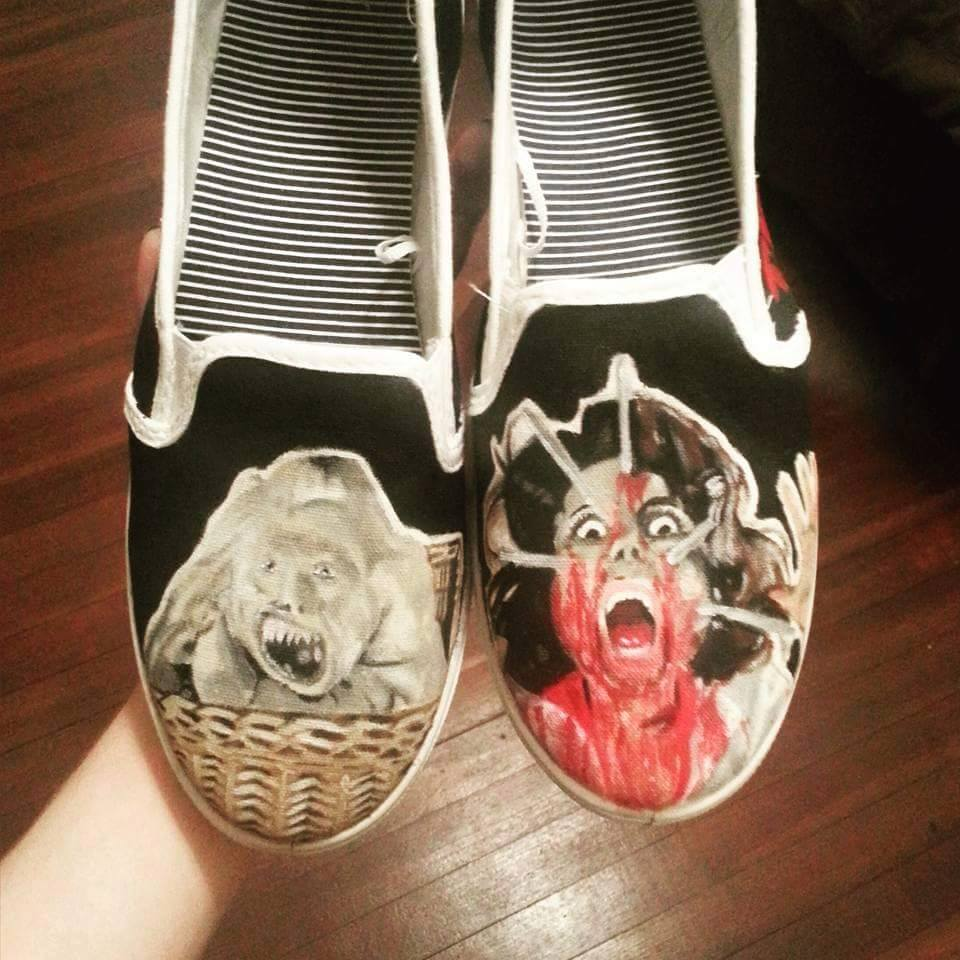 painted shoes 1 - Adorn Your Footwear with Hand-Painted Horror Icons
