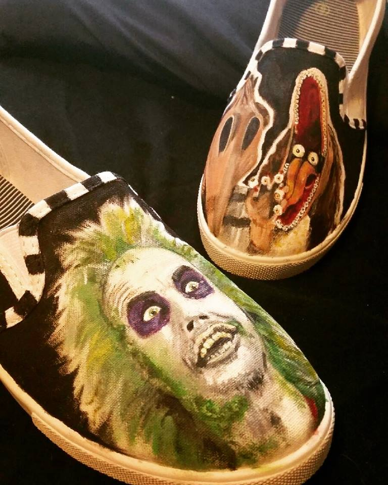 painted shoes 2 - Adorn Your Footwear with Hand-Painted Horror Icons