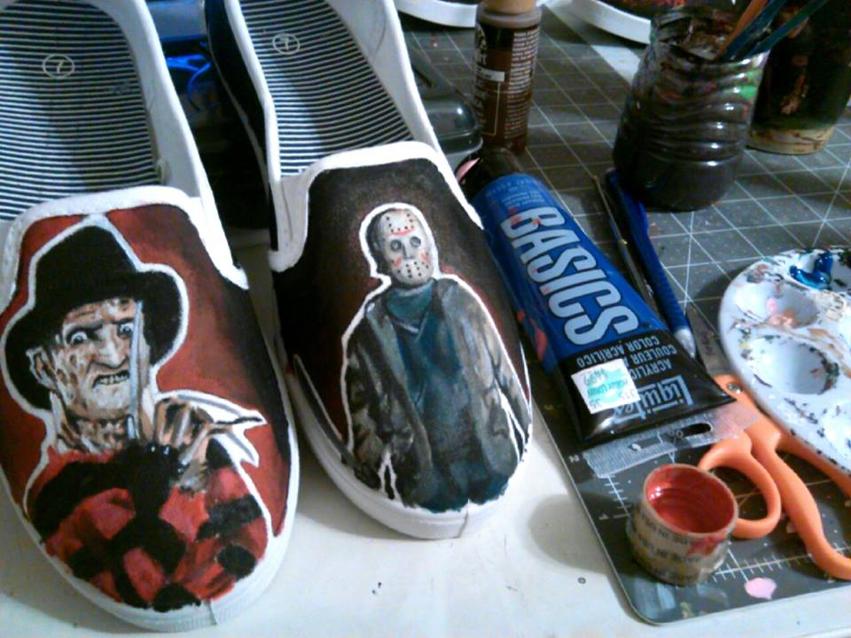 painted shoes - Adorn Your Footwear with Hand-Painted Horror Icons