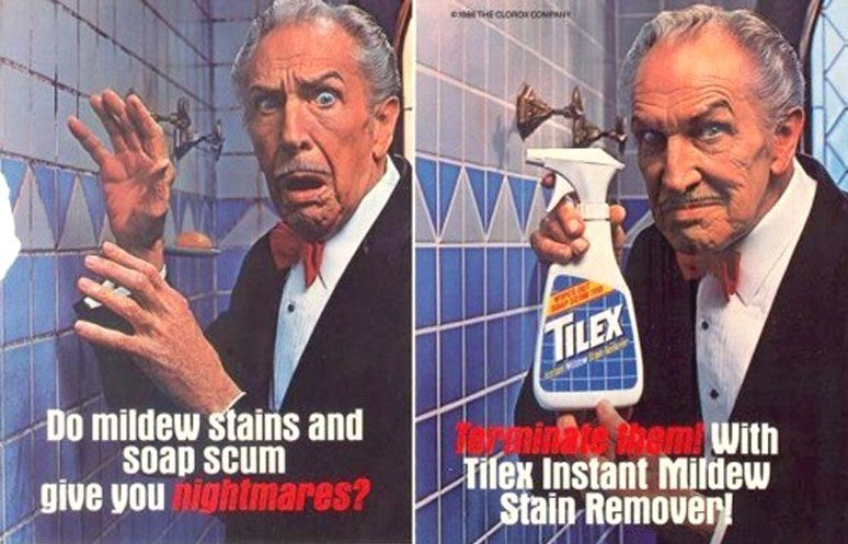 vincent price tilex - 10 Commercials Starring Your Favorite Horror Icons