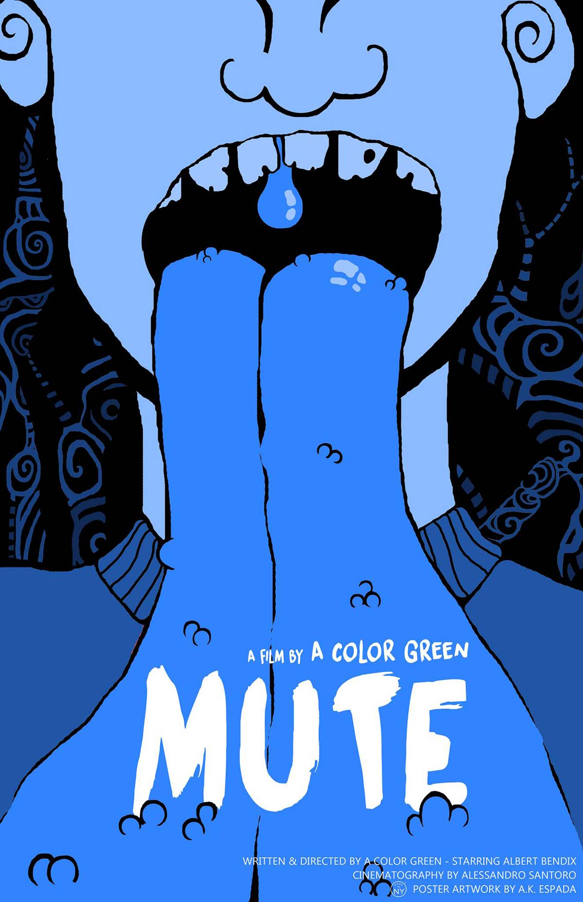 MUTE Illustrated Poster - New Short Mute Features a Tongue-Chopping Madman