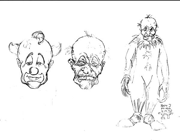 pennywise concept art - Rare Photo Shows Tim Curry in Unused Pennywise Concept Makeup