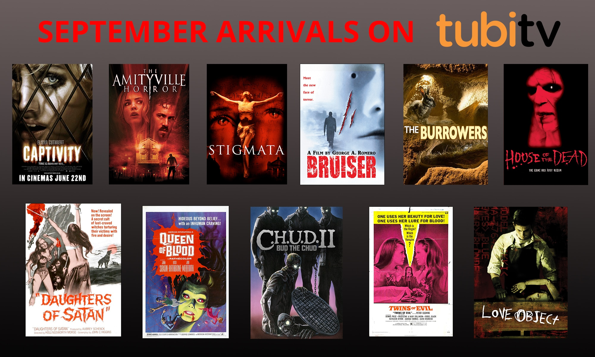 Horror Arrivals September - Tubi TV Terrors for September 2016