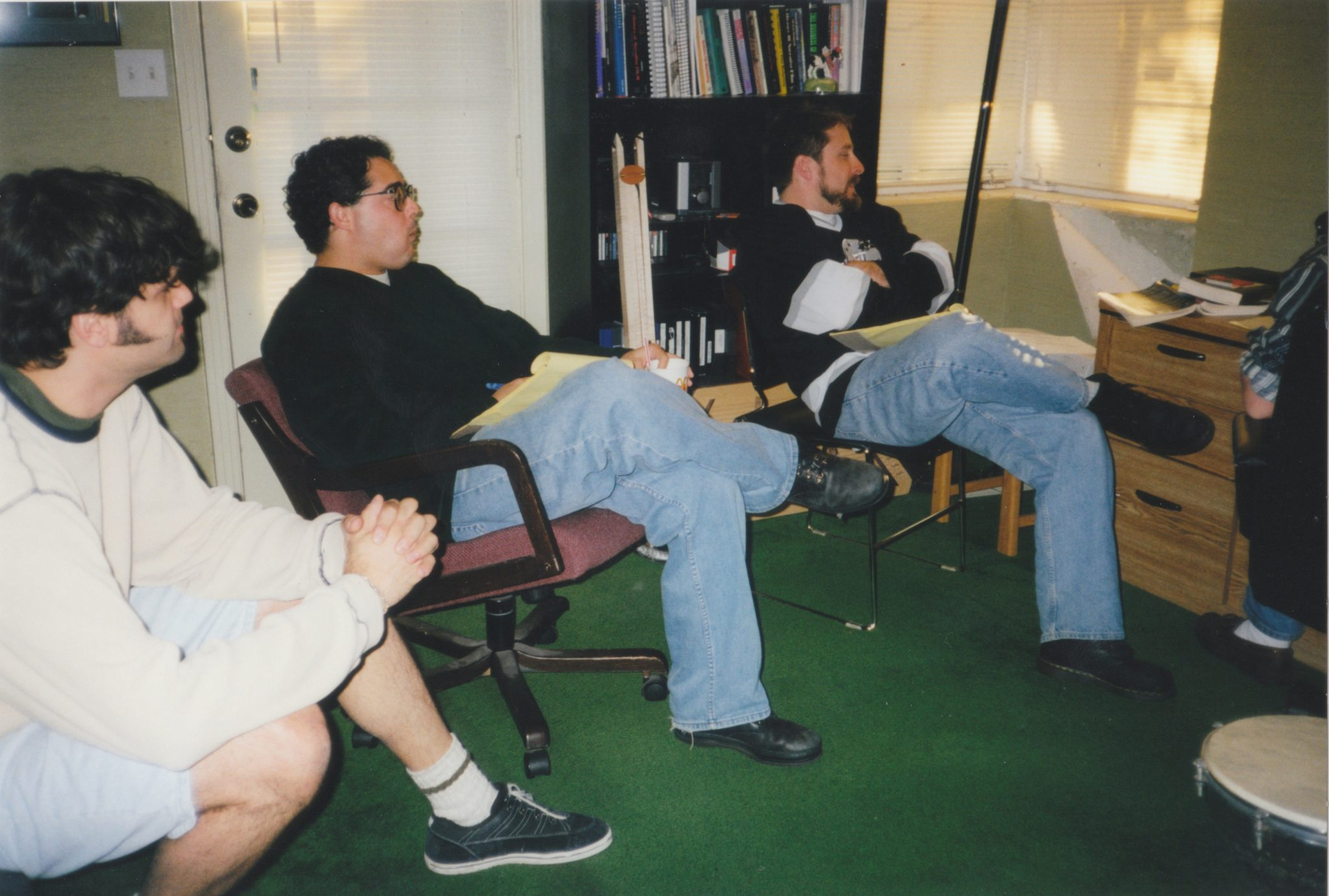 The Haxan offices on Robinson Street in Orlando. Left to right: Ed, Mike, Gregg, and presumably Dan's foot. Photo by Stefanie Sanchez