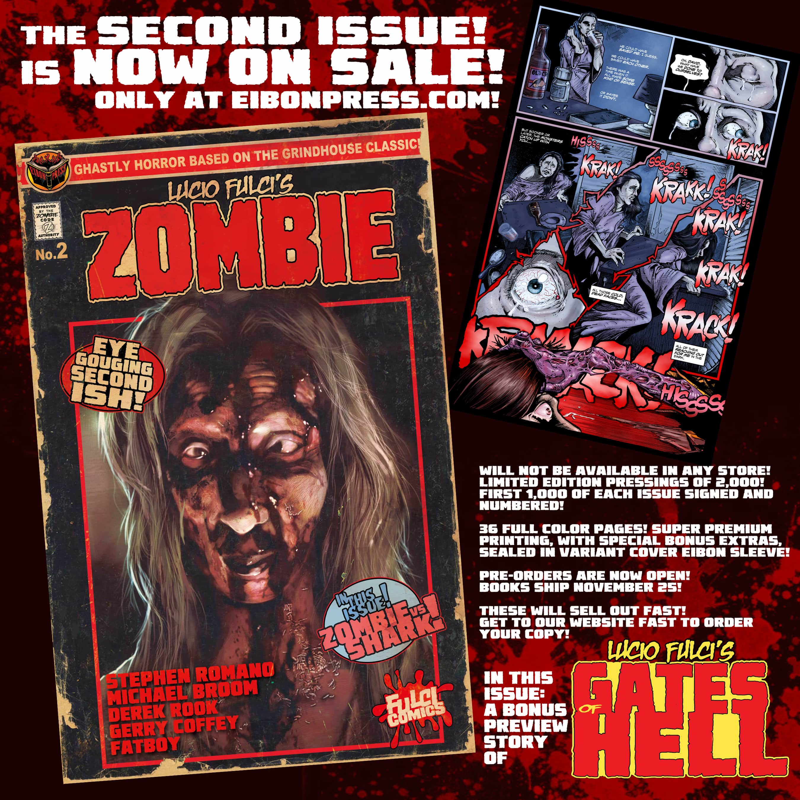 ZOMBIE ISSUE 2 black ad min - Lucio Fulci's ZOMBIE Issue 2 now on sale from Eibon Press!