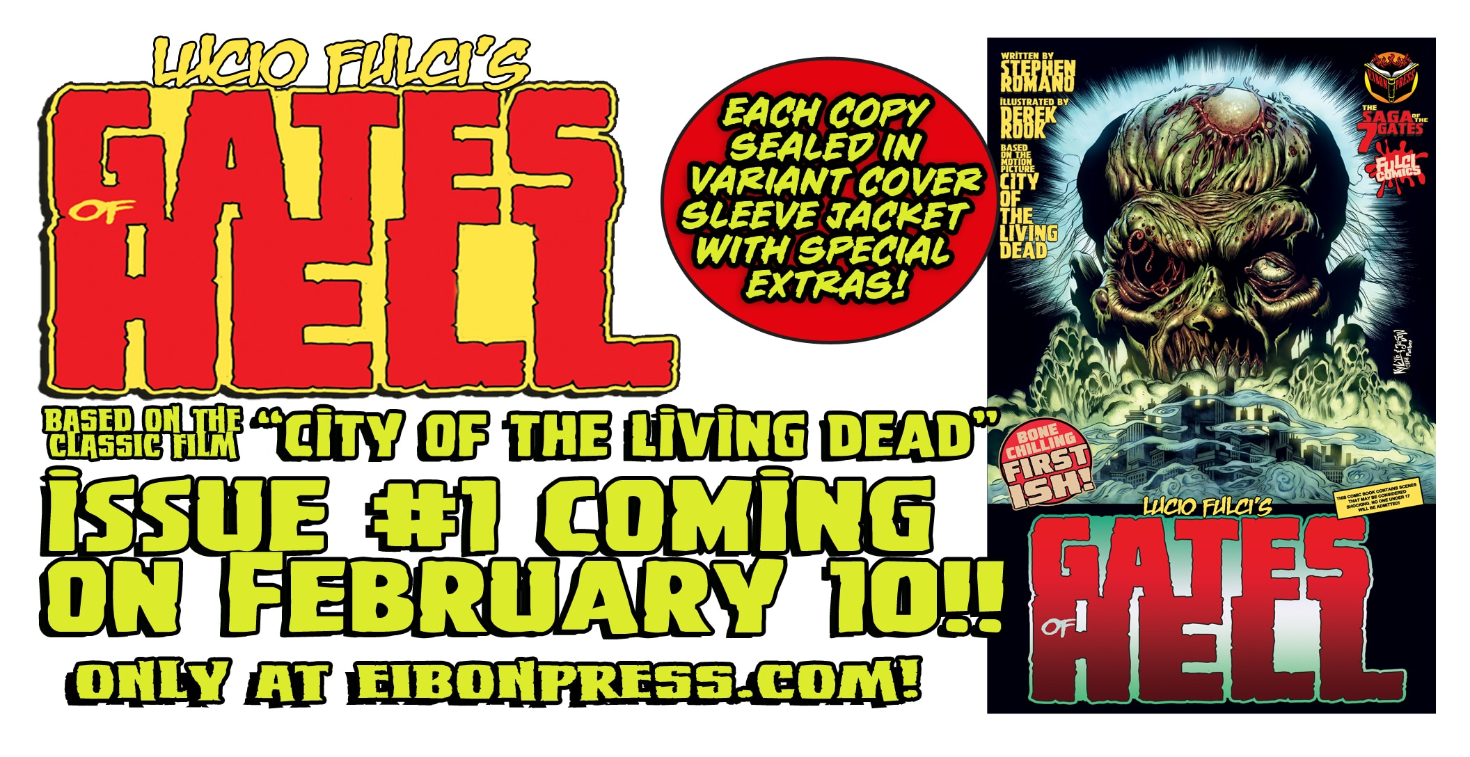 GATES MINI AD - Eibon Press Presents Lucio Fulci's Gates of Hell Trilogy in Comic Form on FEBRUARY 10!