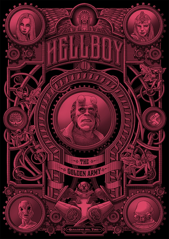 hellboy2 muti - 12 Stunning Alternate Posters for Guillermo del Toro Films