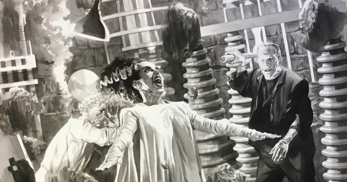 universalmonsterboxsetalexross brideoffrankensteinbanner - #SDCC17: Alex Ross to Premiere Universal Monsters Artwork Box Set