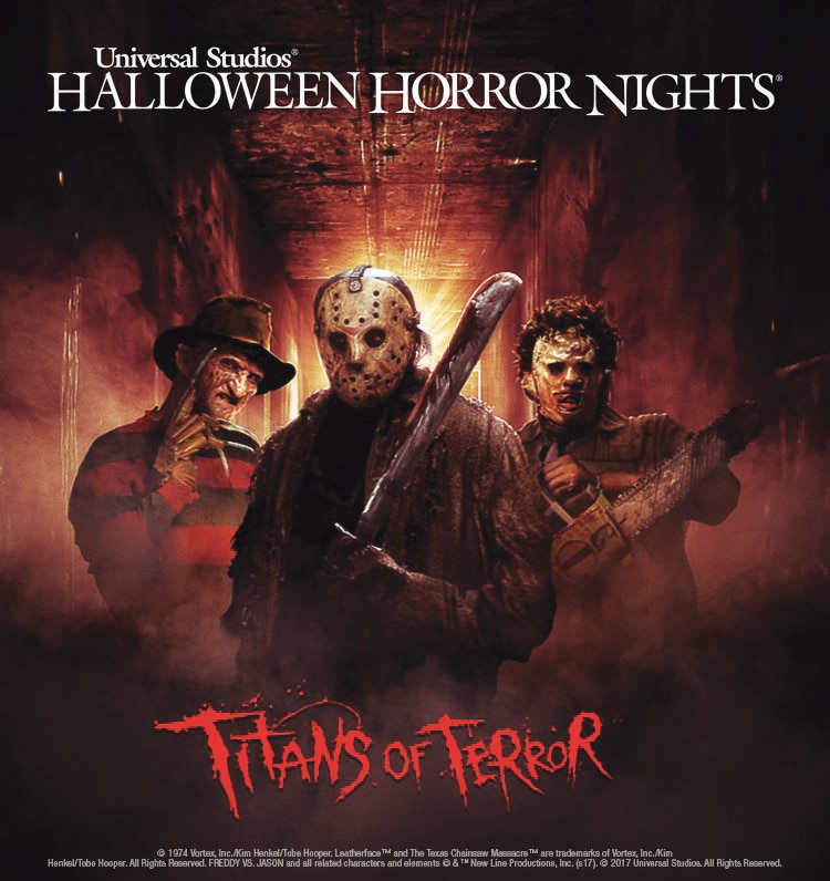 Titans of Terror Maze HHN at USH Key Art logo - Hollywood's Halloween Horror Nights Uniting Freddy Krueger, Jason Voorhees, and Leatherface in Titans of Terror Hosted By Chucky!