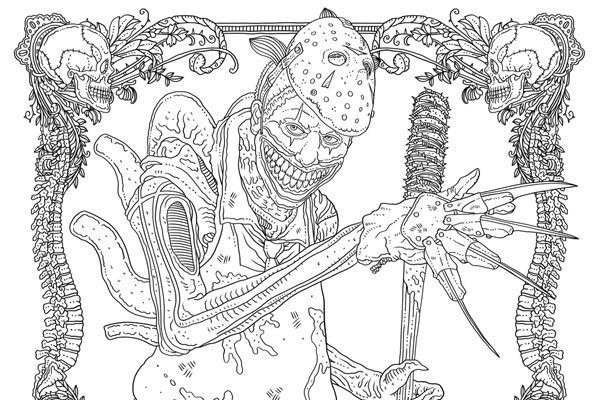Idw releases two free monster mash up coloring pages from Horror coloring book for adults
