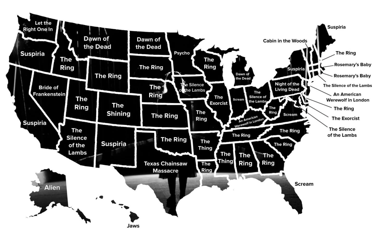 map infographic - New Infographic Examines What America's Favorite Horror Flicks Are