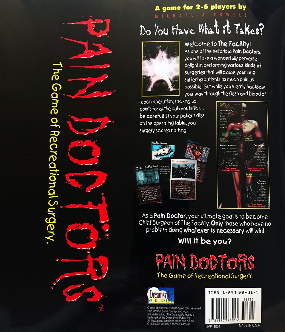 pain doctors gameboard back - Pain Doctors: The Game of Recreational Surgery Board Game Overview - Last Meeple Standing