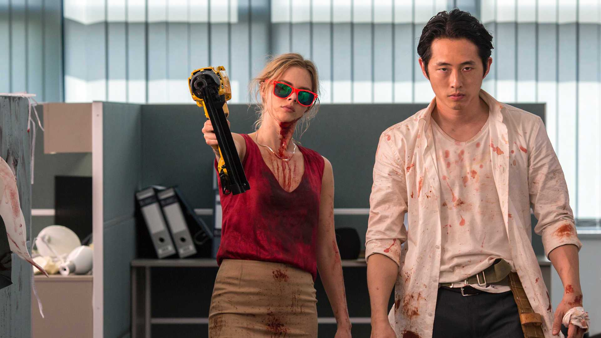 Steven Yeun and Samara Weaving in Mayhem 1 - Joe Lynch's Mayhem Fights Its Way to the Top of iTunes
