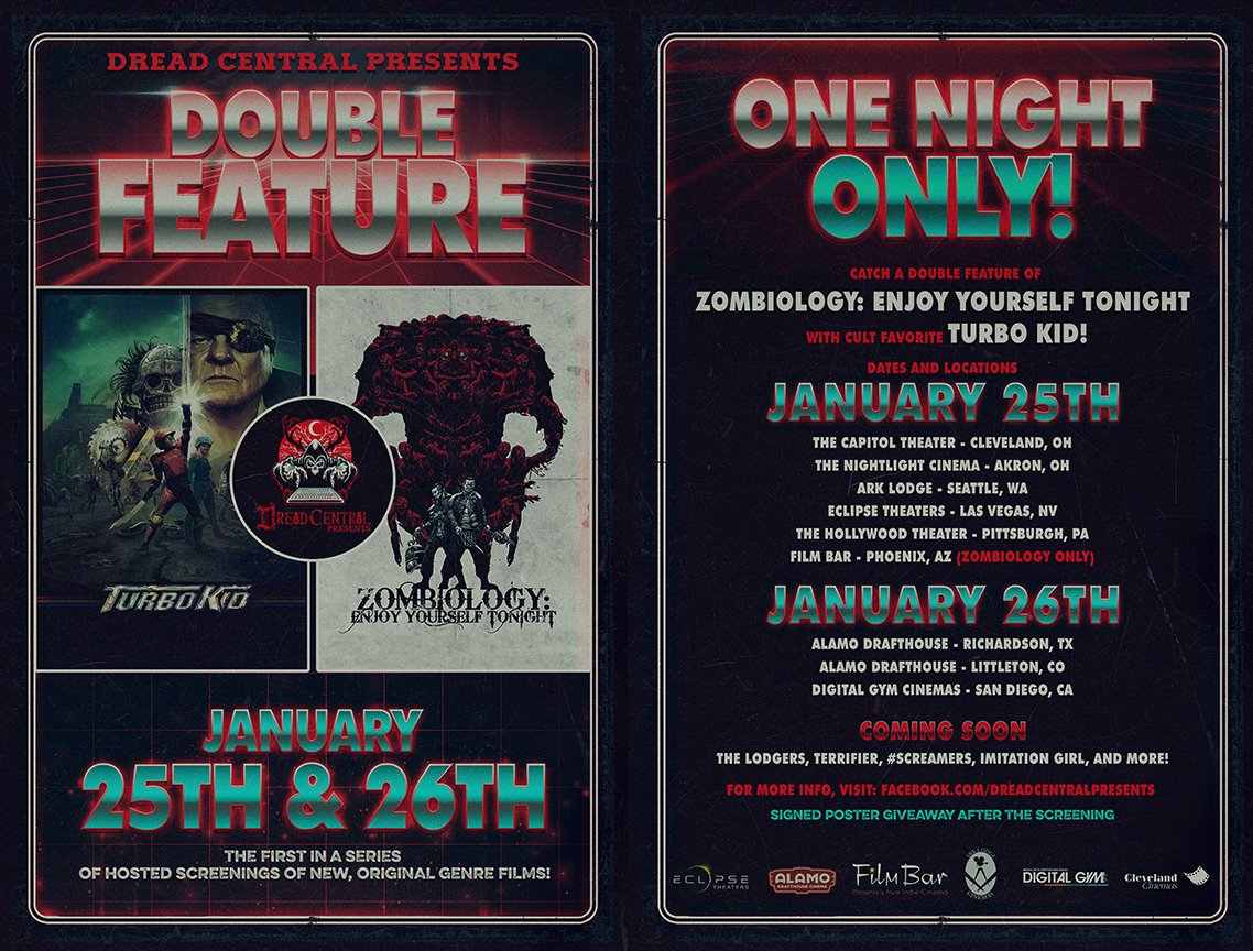doublefeaturezombiologyturbokiddcpposter - Dread Central Presents Announces Zombiology: Enjoy Yourself Tonight & Turbo Kid Double Feature Screenings!