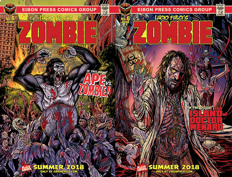 Eibon Press Zombie 6 Variants - Exclusive: Box of Dread Subscribers Sneak a Peek at Zombie vs. Ape!
