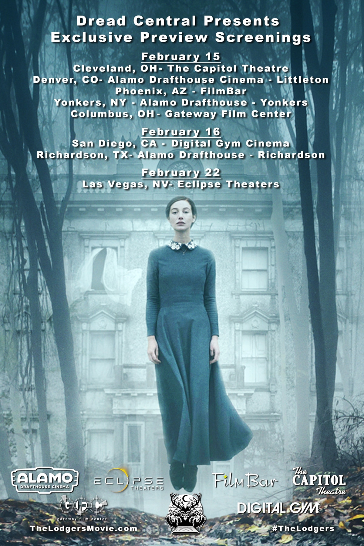 TheLodgers PreviewScreenings Flyer fixed - Dread Central Presents The Lodgers THIS WEEK! Click for Cities and Showtimes!