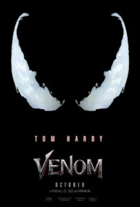 Venom movie poster 203x300 - Venom Starring Tom Hardy Gets Official Teaser Poster; Trailer Tomorrow?