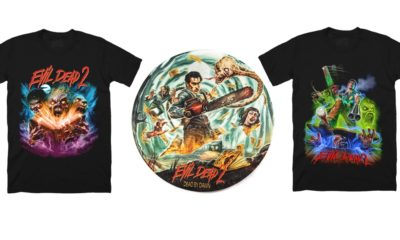 CavityColorsEvilDead2 400x240 - New Evil Dead 2 Shirts, Turntable Slipmats, and Candle Via Cavity Colors
