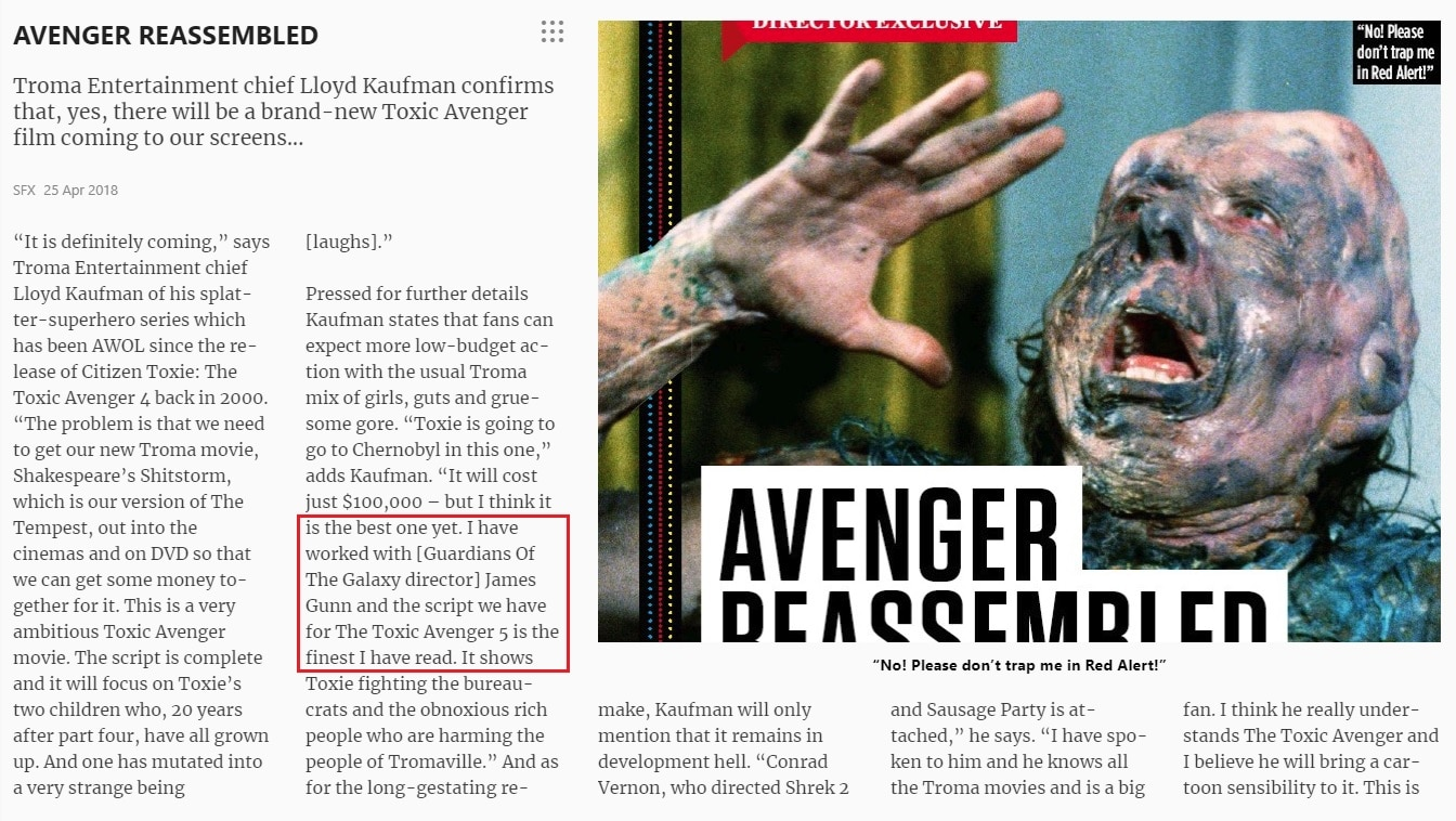 SFX Magazine - James Gunn Isn't Working on THE TOXIC AVENGER 5 After All...