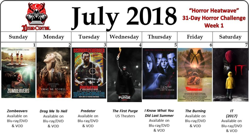 July 31 Day Horror Challenge Week 1 2 1024x576 - Horror Heatwave: Dread Central's 31-Day Movie Challenge for July 2018!