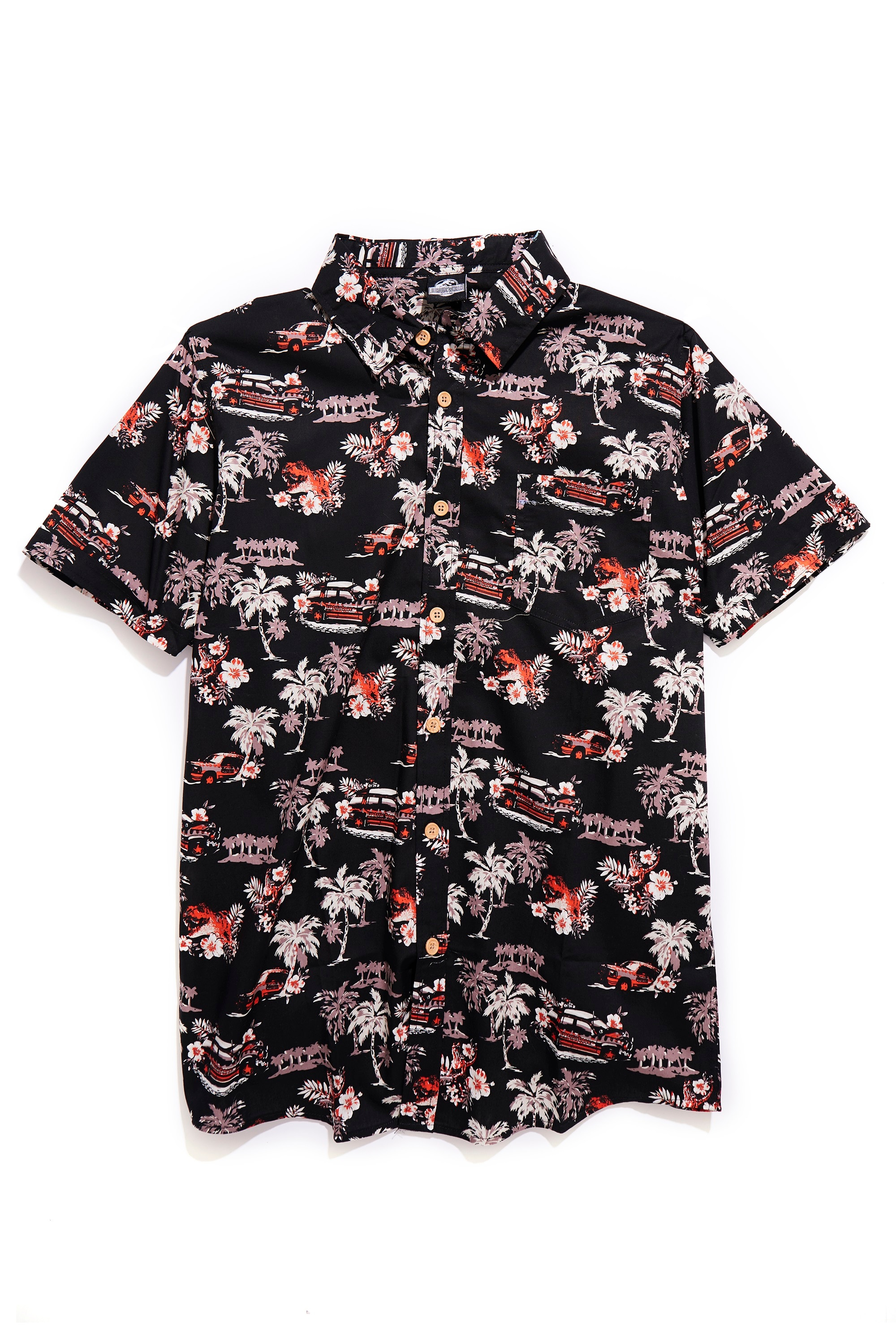 Jurassic World Van Allover Print Woven Button Up 1 - Exclusive: BoxLunch's JURASSIC WORLD Collection for Humans and Pets