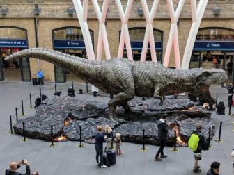 jurassic world Tyrannosaurus rex kings cross3 1 336x252 - JURASSIC WORLD: FALLEN KINGDOM'S Tyrannosaurus Rex Stomps on Kings Cross Station