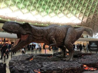 jurassic world kings cross dinosaur8 1 336x252 - JURASSIC WORLD: FALLEN KINGDOM'S Tyrannosaurus Rex Stomps on Kings Cross Station